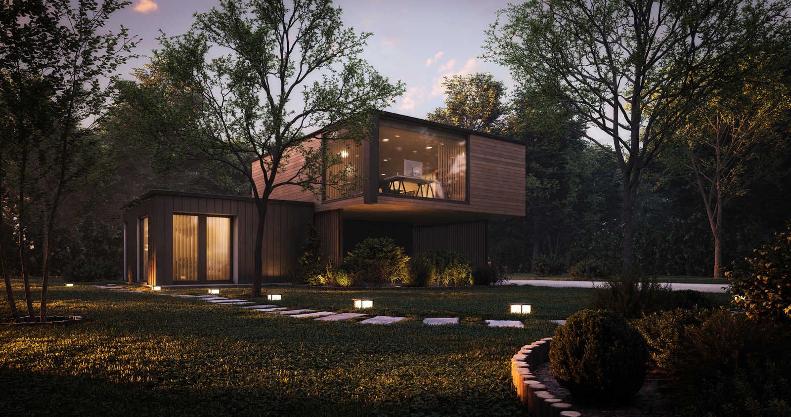 luxury home in woods