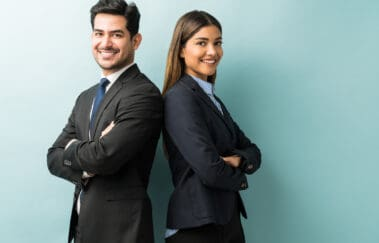 male and female real estate brokers